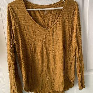Brown/yellow and white striped long sleeve V-Neck